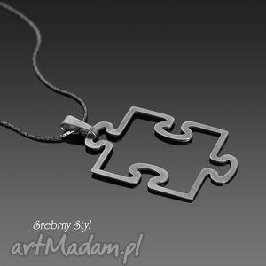 puzzle - oksydowany, zabawny srebro