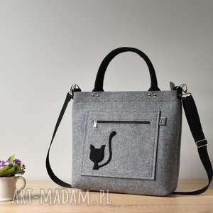 Szara filcowa torebka z kotem, kot, kotek, elegancka, filc,