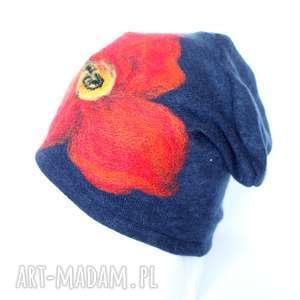 czapka wełniana filcowana ciepła w kwiaty, wełna, folk, damska, etno