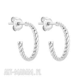 srebrne plecione kolczyki - półkola, kółka eleganckie