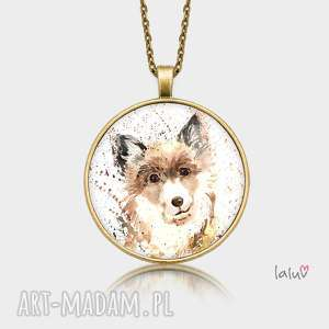 ręcznie zrobione naszyjniki medalion okrągły pies