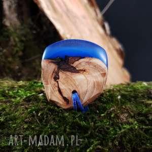 Wisior drewno i żywica Deep Blue , morze, natura, etniczny, boho, drewniany,
