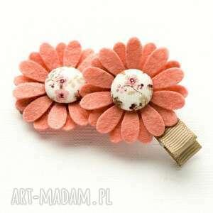 ręczne wykonanie dla dziecka spinki do włosów kwiatki florence