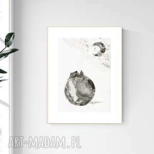 grafika a4 malowana ręcznie, minimalizm, abstrakcja czarno-biała, 2476591
