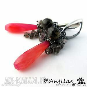 antilae długie kolczyki z różowym chalcedonem, srebrne gronka
