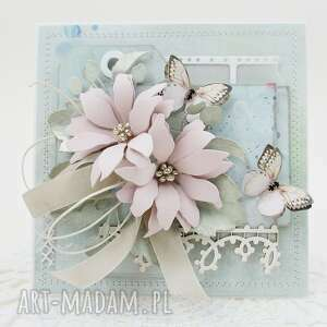 Pastelowa kartka w pudełku scrapbooking kartki marbella ślub