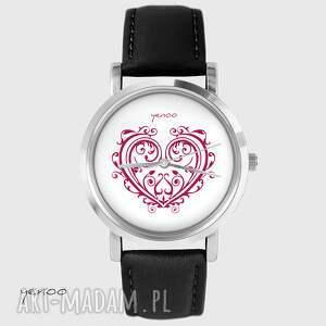 Prezent Zegarek - Serce ornamentowe skórzany, czarny, zegarek, bransoletka, serce