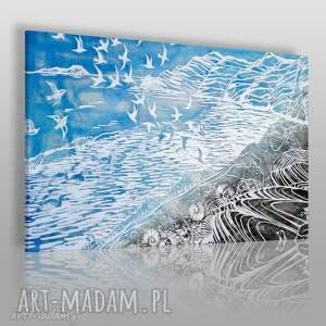 Obraz na płótnie - BŁĘKITNY MEWY MARYNISTYCZNY 120x80 cm (87101), mewy, ptaki
