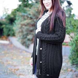 Czarny kardigan mocno warkoczowy, sweter, kardigan, wełniany, warkocze, warkoczowy
