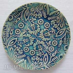 unikalny, turkusowy folkowy talerzyk, ceramiczny talerzyk