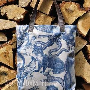 torba mr m vintage animals uszy skÓra naturalna - torba, miejska, pojemna, skóra