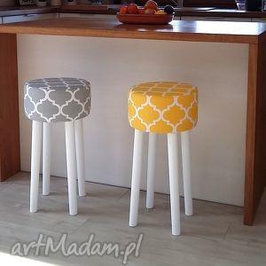 ręcznie robione dom stołek fjerne hoker -koniczyna szara białe nogi