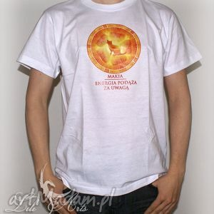 Koszulka bawełniana - energia podąża za uwagą rozmiar l koszulki