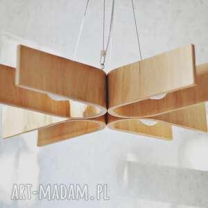 lampa wisząca z naturalnym wyrazem drewna 70x70cm, lampa, żyrandol, design