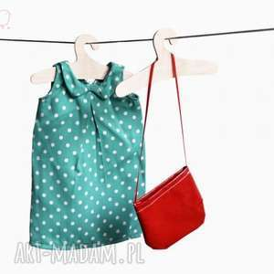 Zielona sukienka w groszki - outfit dla lalki., lalka, kot, szmacianka,
