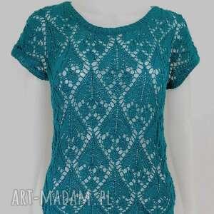bluzki ażurowa bluzeczka na lato, ażurowa, drutach, miętowa