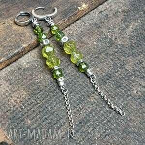 kolczyki ze srebra i peridotu, długie, wiszące