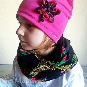 czapka z koninem - wzór ludowy - szaliki, czapki, komin