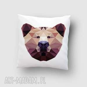 poduszka z misiem, poduszka, grafika, miś, dom, lowpoly, niedźwiedź