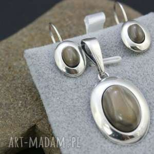 komplet kolczyki i zawieszka krzemień pasiasty, komplet, srebrny, kolczyki,