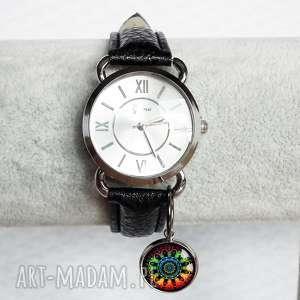 KOLOROWA MANDALA :: MODNY ZEGAREK NA RĘKĘ, zegarek, skóra, ekologiczna, zawieszką