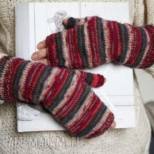 ręcznie zrobione rękawiczki mitenki eleganckie