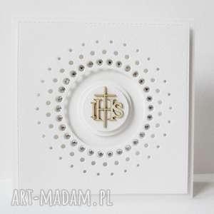 handmade scrapbooking kartki pierwsza komunia - z kryształkami