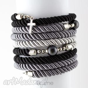 bransoletki bransoletka owijana spiralna z hematytem, bransoletka, lina, sznurek