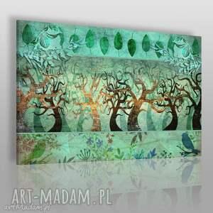 obrazy obraz na płótnie - drzewa liście zielony 120x80 cm 57701, drzewa