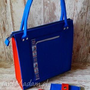 na ramię wiosenna filcowa torba plus etui - styl marynarski , torebka, miejska