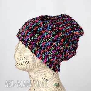ręczne wykonanie czapki kolorowa czapka z włóczki beanie 017