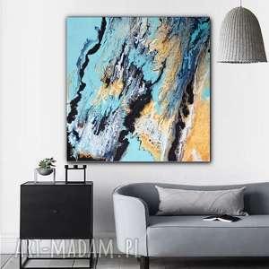"""obrazy złota lawina"""" obraz do salonu - ręcznie malowany - abstrakcyjny - prezent"""