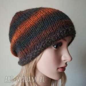 skórka pomarańczy czapka, rękodzieło, czapka na drutach, bezszwowa styl