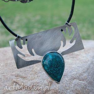 a484 Z lasu -Naszyjnik srebrny z chryzokolą, naszyjnik, jeleń, srebrny, elegancki