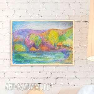 Oprawiony obrazek jesień, ręcznie malowany obraz jesienny, jesień rysunek kolorowy