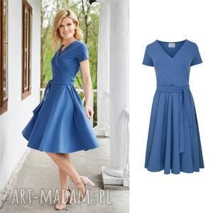 atencja niebieska sukienka kopertowa, sukienka, rozkloszowana, dzianina