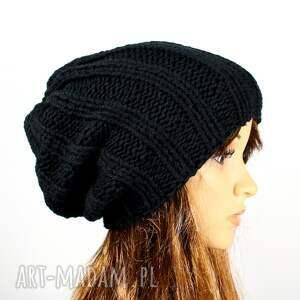 Czapka unisex zimowa robiona na drutach czarna dziergana, czapka, czarna-czapka