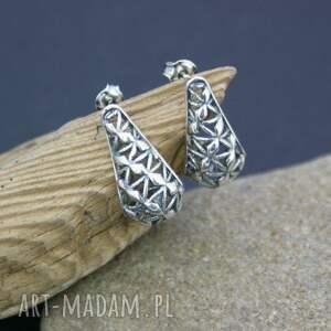 kolczyki srebrne ażurowe, kolczyki, srebrne, wkrętki, piękne