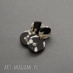 sisu kolczyki czarno-białe, kolorowe, eleganckie, wiszące, wieczorowe, małe