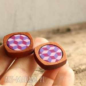 geometryczne spinki do mankietów - spinki, drewniane, drewno, prezent, kobieta