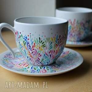 filiżanki dla pary ceramika ręcznie malowana, filiżanki, pary, prezent