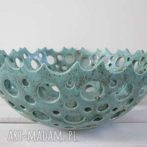 ażurowa dekoracyjna miska na owoce, miska-ceramiczna, miska-handmade, miska-na-owoce