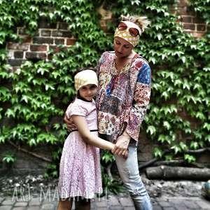 opaska dla dziecka etno boho kolor grochy dzianina, opaska, kropki, grochy,