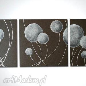 obraz ręcznie malowany dmuchawce wenge silver - 150x50, obraz, srebrny, baloniki