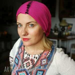 Czapka smerfetka wiosenna różowo - czarna czapki ruda klara