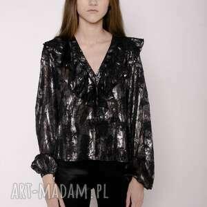 bluzki bluzka z falbaną, srebrny, srebrna, błyszcząca, czarna, falbany