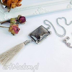 vivi4n obsydian srebrzysty - wisior z chwostem, obsydian, srebrzysty, chwost, srebrny