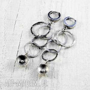 surowe kolczyki codzienne, srebro, srebrne kolczyki, prezent