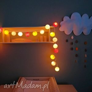 qule lampki cotton balls light bursztynowo - lights, ball, dziecka, pokoik, sypialnia