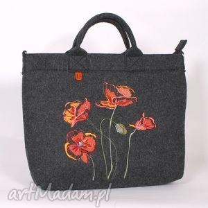 duża ciemna filcowa torba z makami, torebka, torba, filc, haft, maki, laptop